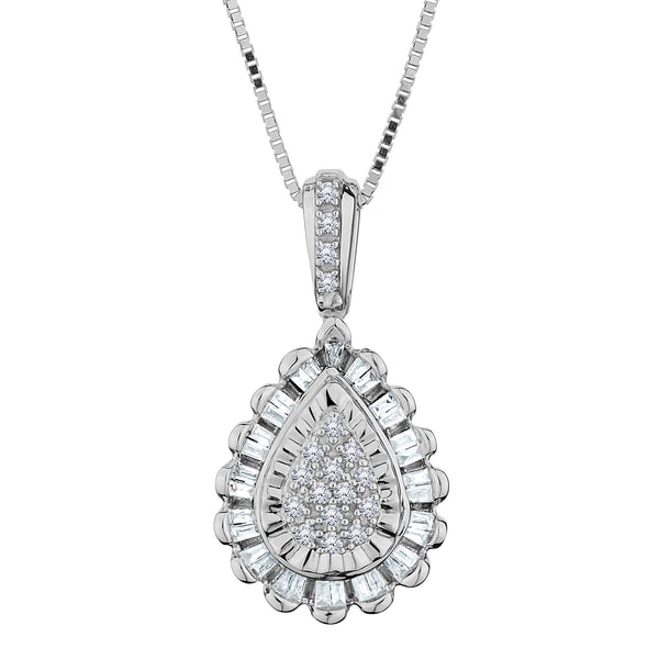 .18 CARAT DIAMOND PEAR PENDANT WITH HALO, 10kt WHITE GOLD, WITH 10kt WHITE GOLD CHAIN….............................NOW