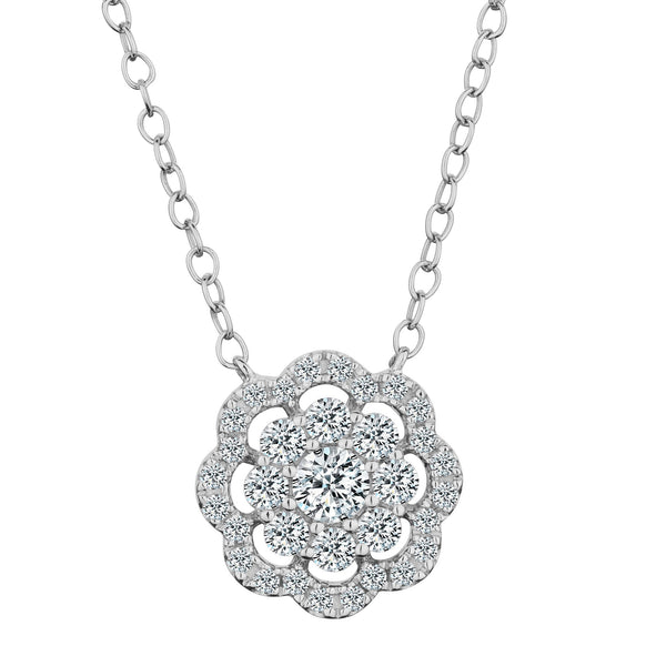 .40 CARAT DIAMOND PAVE FLOWER PENDANT,  10kt WHITE GOLD, WITH 10kt WHITE GOLD CHAIN….............................NOW