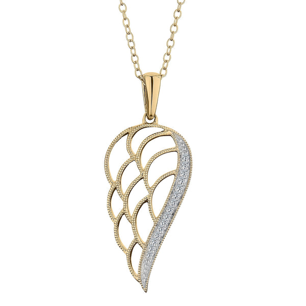 .05 CARAT DIAMOND ANGELS WING PENDANT,  10kt YELLOW GOLD, WITH 10kt YELLOW GOLD CHAIN….............................NOW