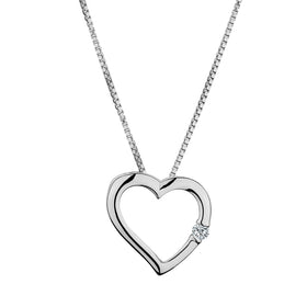 .03 CARAT DIAMOND HEART PENDANT, 10kt WHITE GOLD, WITH 10kt WHITE GOLD CHAIN...................NOW