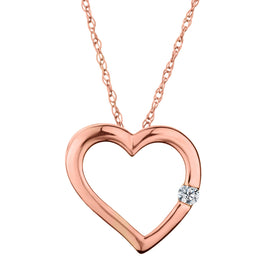 .03 CARAT DIAMOND HEART PENDANT, 10kt ROSE GOLD, WITH 10kt ROSE GOLD CHAIN.....................NOW