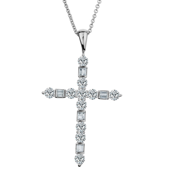 1.00 CARAT DIAMOND CROSS PENDANT, 14kt WHITE GOLD, WITH 14kt WHITE GOLD CHAIN...................NOW