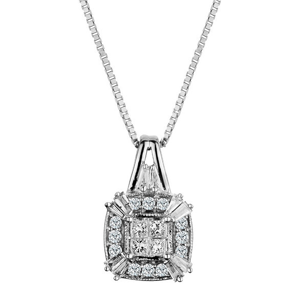 .33 CARAT DIAMOND PENDANT, 10kt WHITE GOLD, WITH 10kt WHITE GOLD CHAIN......................NOW