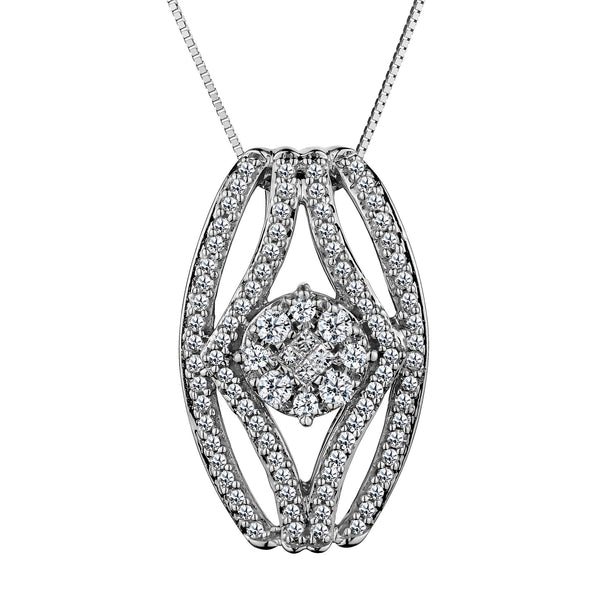 .50CT DIAMOND PENDANT, 10kt WHITE GOLD, WITH 10kt WHITE GOLD CHAIN….............................NOW