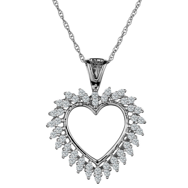 .25 CARAT DIAMOND HEART PENDANT, 10kt WHITE GOLD, WITH 10kt WHITE GOLD CHAIN….............................NOW