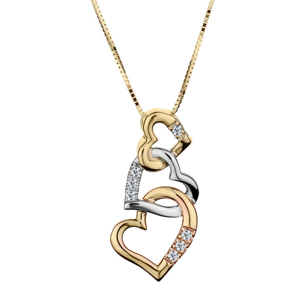 .05 CARAT DIAMOND THREE INTERTWINED HEARTS, 10kt TRI COLOUR. 10kt YELLOW GOLD CHAIN….............................NOW