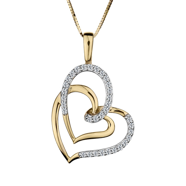.16 CARAT DIAMOND DOUBLE HEART PENDANT, 10kt YELLOW GOLD, WITH 10kt YELLOW GOLD CHAIN….............................NOW