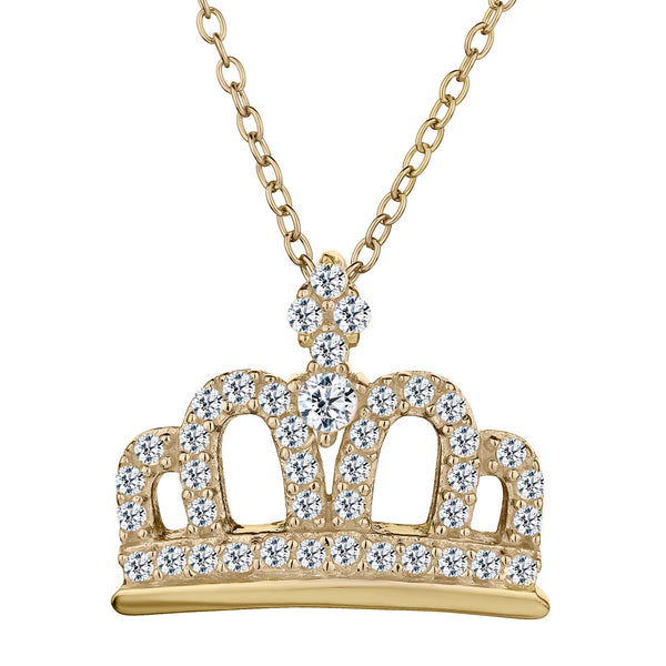 WHITE TOPAZ CROWN PENDANT, SILVER/GOLD PLATED, WITH GOLD PLATED CHAIN.....................NOW