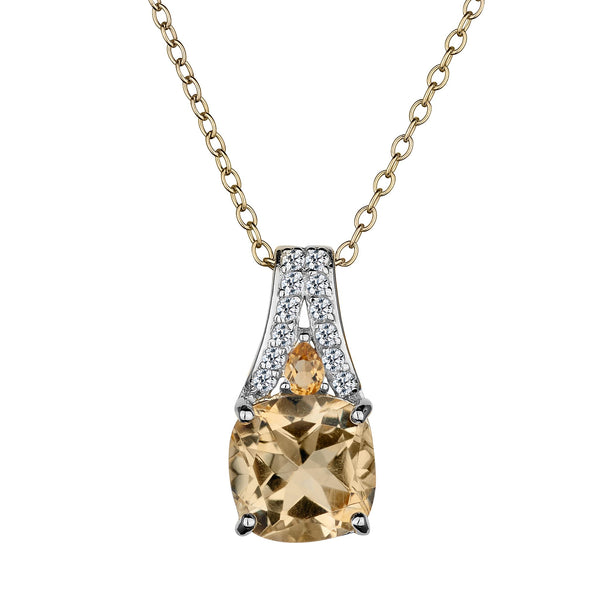 GENUINE CITRINE WITH WHITE TOPAZ DROP PENDANT, SILVER/GOLD PLATED, WITH GOLD PLATED CHAIN….............................NOW