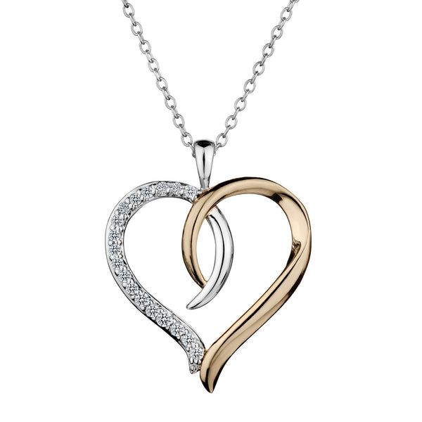 .25 CARAT DIAMOND HEART PENDANT, WHITE AND PINK SILVER, WITH SILVER CHAIN….............................NOW