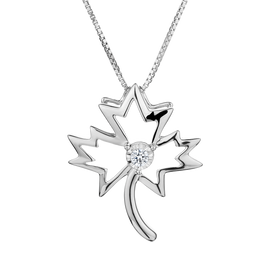 .05 CARAT DIAMOND MAPLE LEAF PENDANT, SILVER, WITH SILVER CHAIN...........NOW