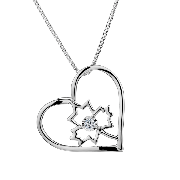 S.SILVER .03TDW DIAMOND HEART MAPLE LEAF PENDANT, SILVER, WITH SILVER CHAIN...............NOW