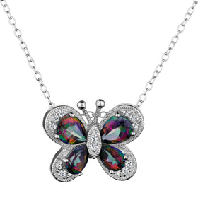 GENUINE MYSTIC TOPAZ BUTTERFLY PENDANT, SILVER, WITH SILVER CHAIN.....................NOW