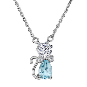 GENUINE BLUE TOPAZ AND WHITE TOPAZ CAT PENDANT, SILVER, WITH SILVER CHAIN.....................NOW