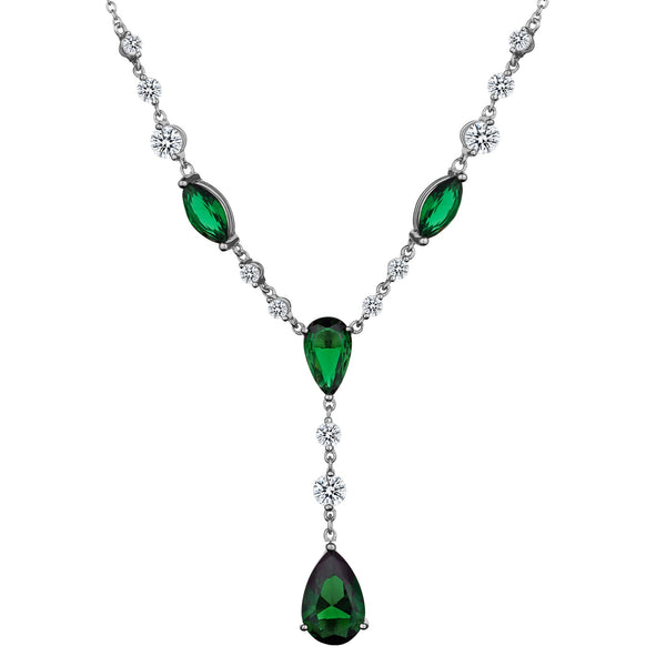 CREATED EMERALD AND WHITE TOPAZ PENDANT, SILVER, WITH SILVER CHAIN….............................NOW
