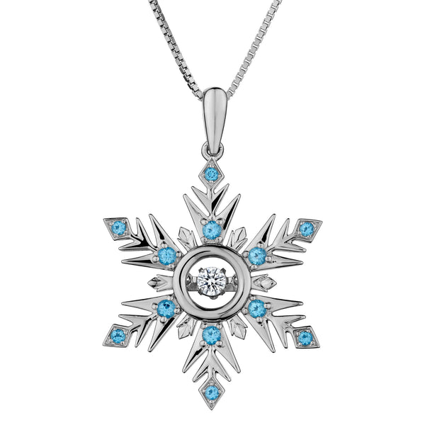 GENUINE BLUE AND WHITE TOPAZ SNOWFLAKE PENDANT, SILVER, WITH SILVER CHAIN….............................NOW