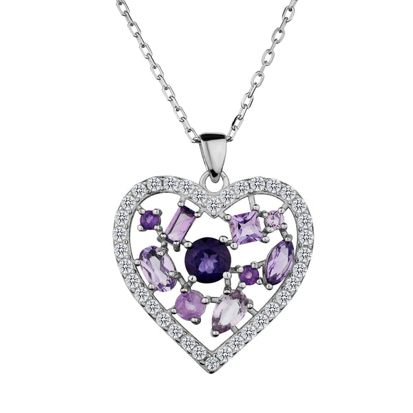 GENUINE AMETHYST AND WHITE TOPAZ HEART PENDANT, SILVER, WITH SILVER CHAIN….............................NOW