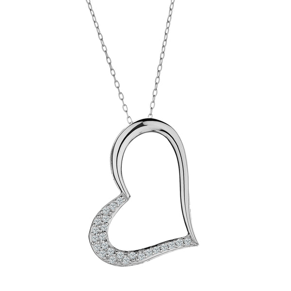 GENUINE WHITE SAPPHIRE HEART PENDANT, WITH SILVER CHAIN.................................NOW