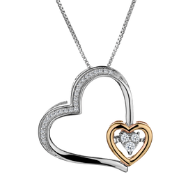 .14 CARAT DIAMOND HEART PENDANT, SILVER AND ROSE GOLD, WITH SILVER CHAIN........NOW