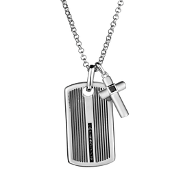 S. SILVER .25TDW BLACK DIAMOND DOG TAG, WITH CROSS + SILVER CHAIN.......................NOW
