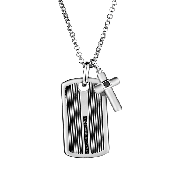 S. SILVER .25TDW BLACK DIAMOND DOG TAG, WITH CROSS + SILVER CHAIN...........NOW
