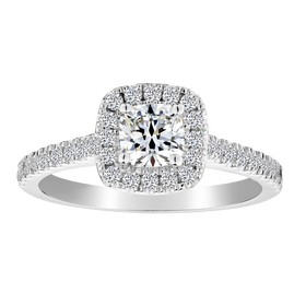 .50 CARAT DIAMOND CENTRE, .80 CARAT DIAMOND TOTAL ENGAGEMENT RING, 14kt WHITE GOLD......................NOW