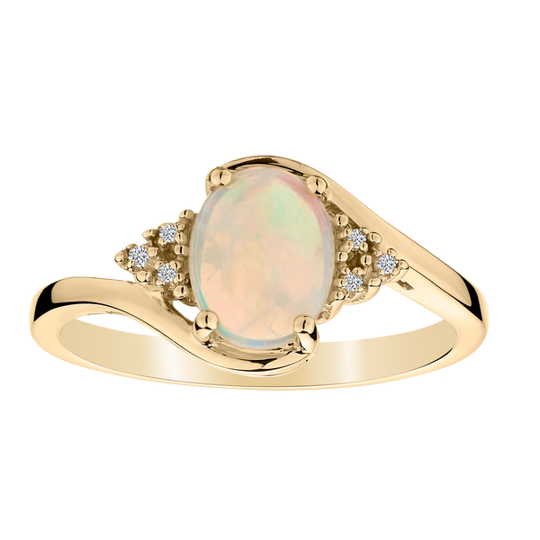 GENUINE OPAL DIAMOND RING, WITH 10kt YELLOW GOLD.................NOW