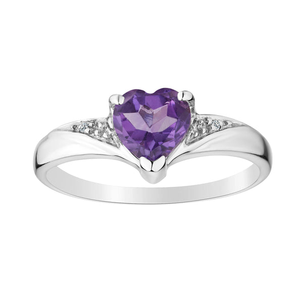 GENUINE AMETHYST DIAMOND HEART RING, SILVER.................NOW