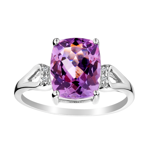 GENUINE PINK AMETHYST DIAMOND RING, SILVER........................NOW