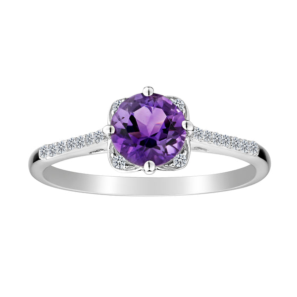 CREATED WHITE SAPPHIRE AND AMETHYST RING, SILVER...................NOW