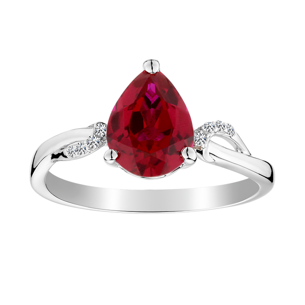 CREATED RUBY AND CREATED WHITE SAPPHIRE RING, SILVER.......................NOW