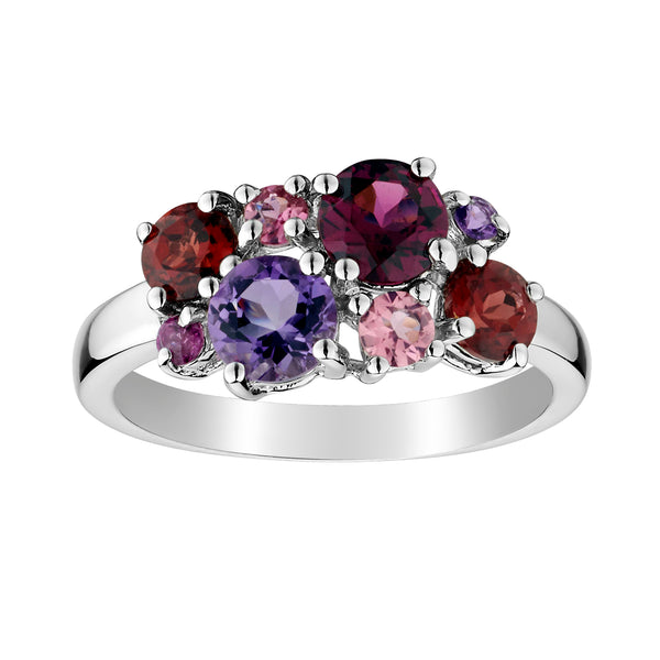 GENUINE GARNET, AMETHYST AND PINK TOURMALINE RING, SILVER.................NOW