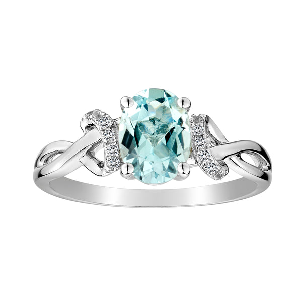 GENUINE AQUAMARINE AND WHITE SAPPHIRE RING, SILVER.................NOW