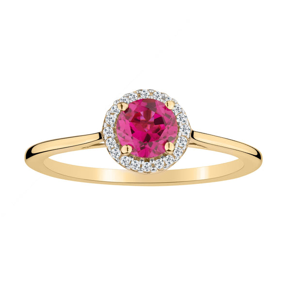 CREATED RUBY AND .06 CARAT DIAMOND HALO RING, 10kt YELLOW GOLD….............................NOW