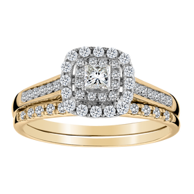 .50 CARAT PRINCESS CUT CENTRE DIAMOND ENGAGEMENT RING SET, 14kt YELLOW GOLD......................NOW