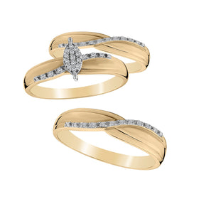 .15 CARAT DIAMOND TRIO RING SET, 10kt YELLOW GOLD..................NOW