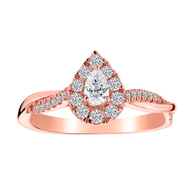 .50 CARAT DIAMOND PEAR SHAPE RING, 14kt ROSE GOLD.......................NOW