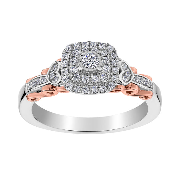 .33 CARAT DIAMOND PAVE RING, 10kt WHITE AND ROSE GOLD (TWO TONE)….............................NOW