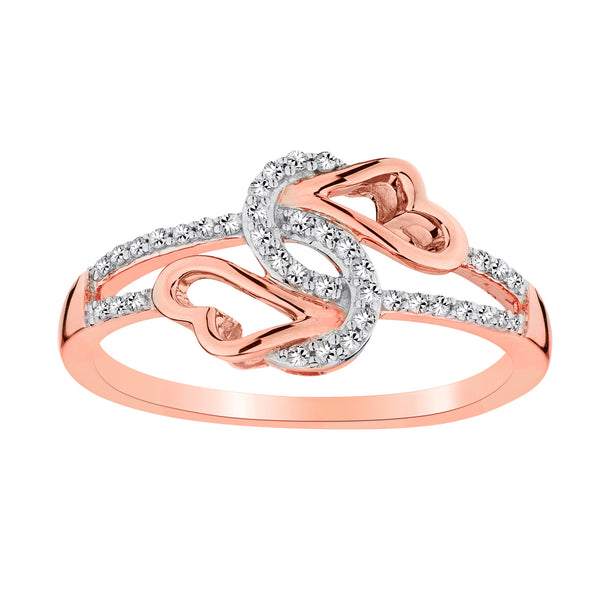 .15 CARAT DIAMOND DOUBLE KNOTTED HEART RING, 10kt ROSE GOLD......................NOW