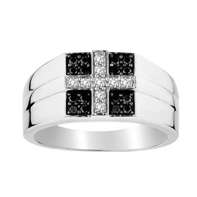 .40 CARAT BLACK AND WHITE DIAMOND CROSS GENTLEMAN'S RING, 10kt WHITE GOLD….............................NOW