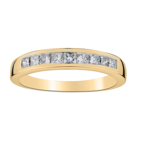 .50 CARAT DIAMOND PRINCESS RING BAND, 14kt YELLOW GOLD….............................NOW