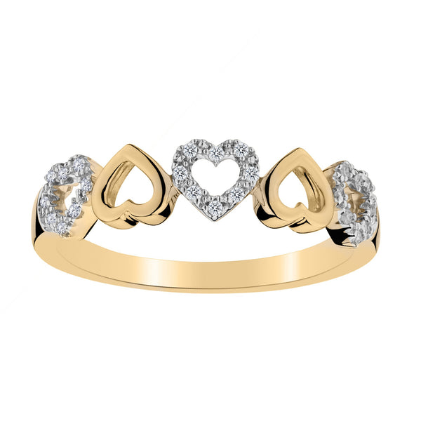 .10 CARAT DIAMOND HEART RING BAND, 10kt YELLOW GOLD….............................NOW