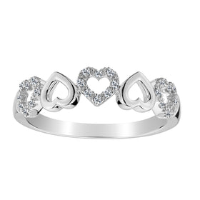 .10 CARAT DIAMOND HEART RING BAND, 10kt WHITE GOLD….............................NOW