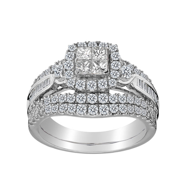 1.50 CARAT DIAMOND ENGAGEMENT RING SET, 14kt WHITE GOLD......................NOW