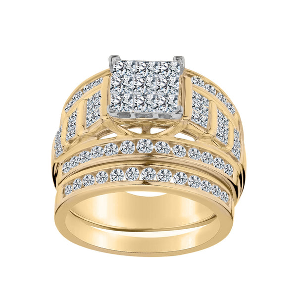 2.00 CARAT DIAMOND RING SET, 10kt YELLOW GOLD...................NOW