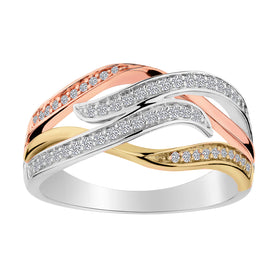 .25 CARAT DIAMOND RING, 10kt WHITE, YELLOW AND ROSE GOLD (TRI-COLOUR)....................NOW