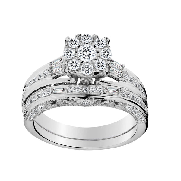 1.00 CARAT DIAMOND RING SET, 10kt WHITE GOLD.......................NOW