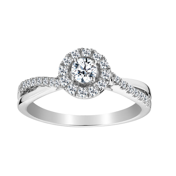 .50 CARAT DIAMOND HALO RING , 10kt WHITE GOLD….............................NOW