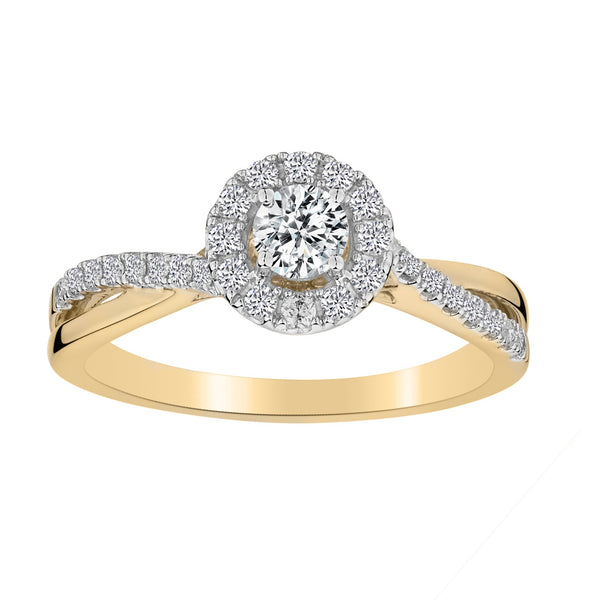 .50 CARAT DIAMOND HALO RING, 10kt YELLOW GOLD….............................NOW