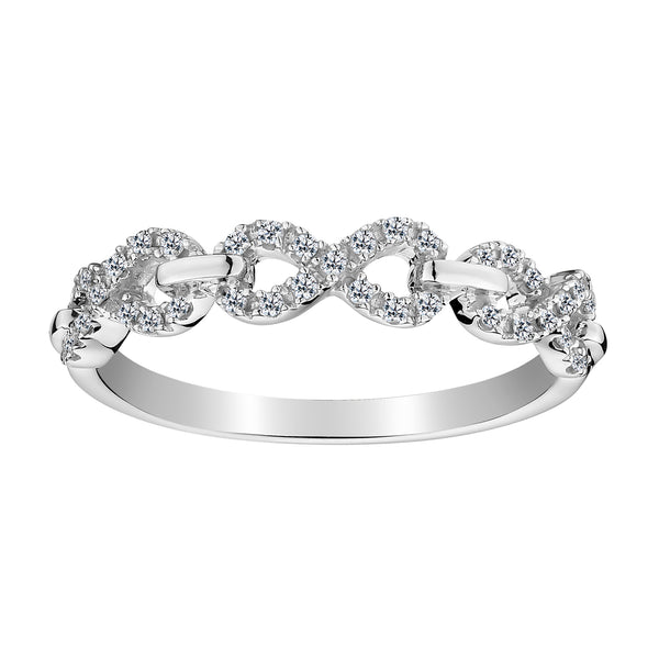 .16 CARAT DIAMOND INFINITY LINK RING, 10kt WHITE GOLD....................NOW